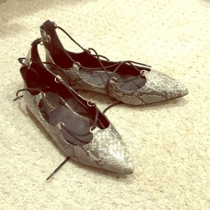 Faux Snake skin Topshop pointy toe flats .